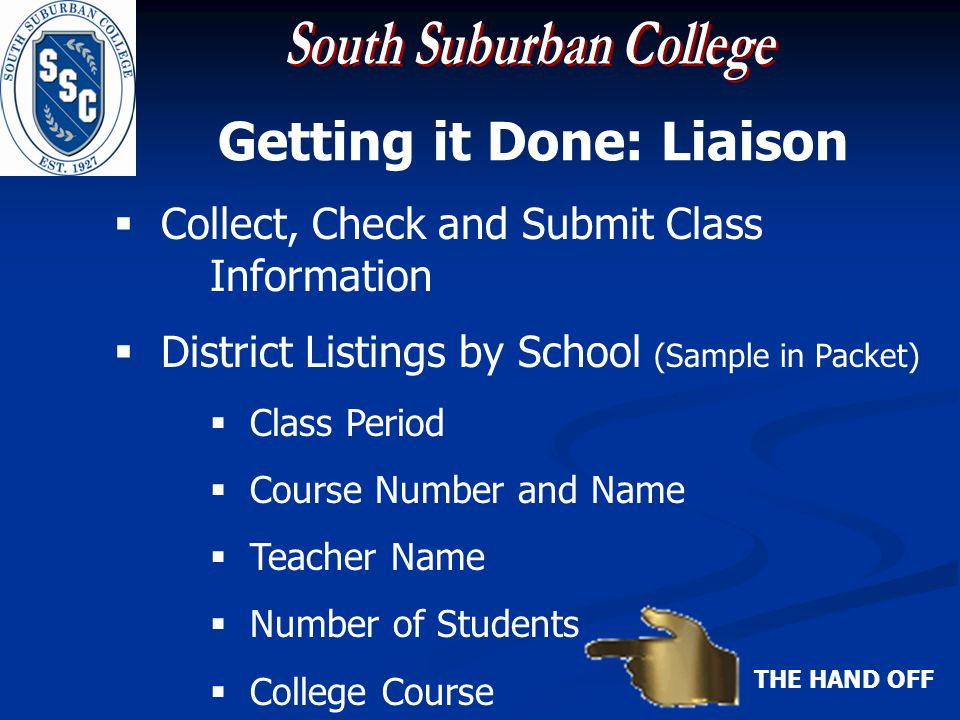Getting it Done: Liaison Collect, Check and Submit Class Information District Listings by School (Sample in Packet) Class Period Course Number and Name Teacher Name Number of Students College Course THE HAND OFF