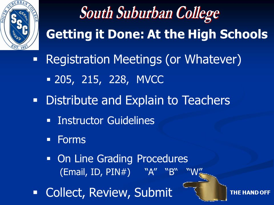 Getting it Done: At the High Schools Registration Meetings (or Whatever) 205, 215, 228, MVCC Distribute and Explain to Teachers Instructor Guidelines Forms On Line Grading Procedures (Email, ID, PIN#) A B W Collect, Review, Submit THE HAND OFF