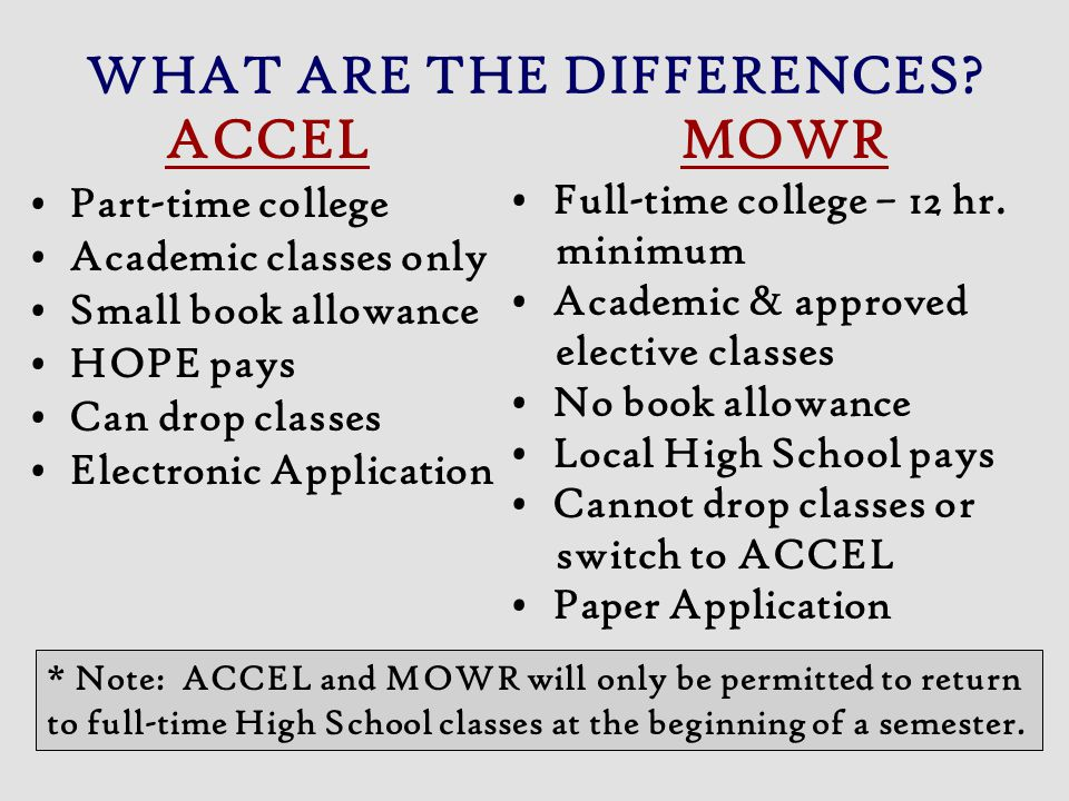 WHAT ARE THE DIFFERENCES? ACCEL Part-time college Academic classes only Small book allowance HOPE pays Can drop classes Electronic Application MOWR Fu