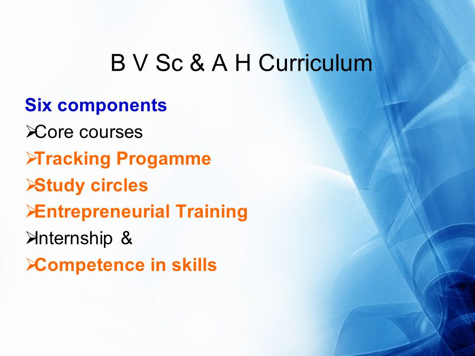 B V Sc & A H Curriculum Six components Core courses Tracking Progamme Study circles Entrepreneurial Training Internship & Competence in skills