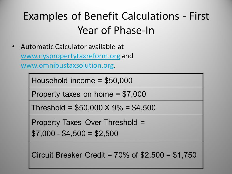 Examples of Benefit Calculations - First Year of Phase-In Automatic Calculator available at www.nyspropertytaxreform.org and www.omnibustaxsolution.org.