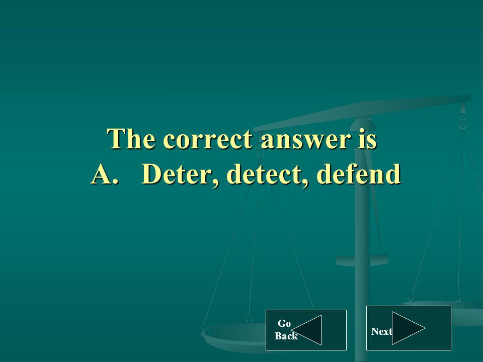 The correct answer is A. Deter, detect, defend Go Back Next