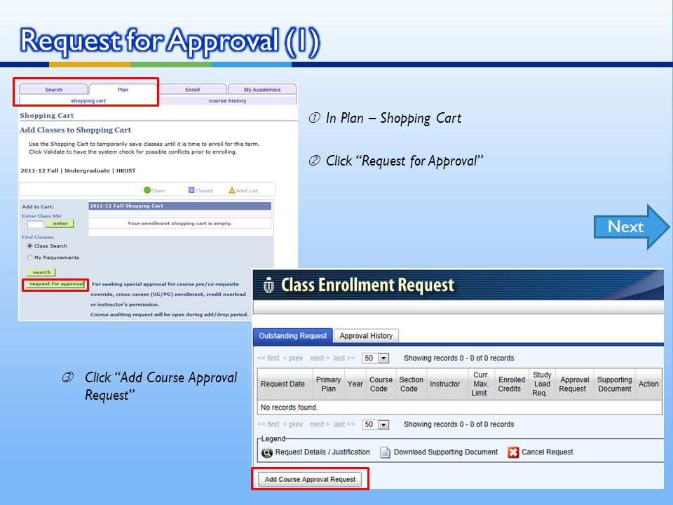 In Plan – Shopping Cart 'Click Request for Approval ƒClick Add Course Approval Request Next