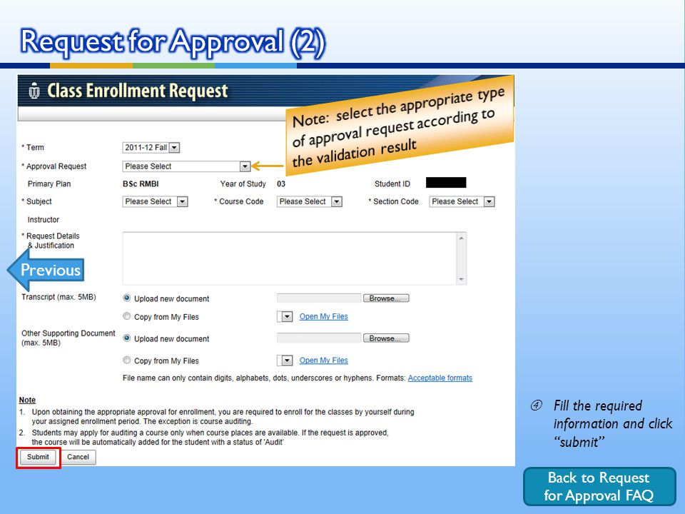 "Back to Request for Approval FAQ ""Fill the required information and click submit Previous"