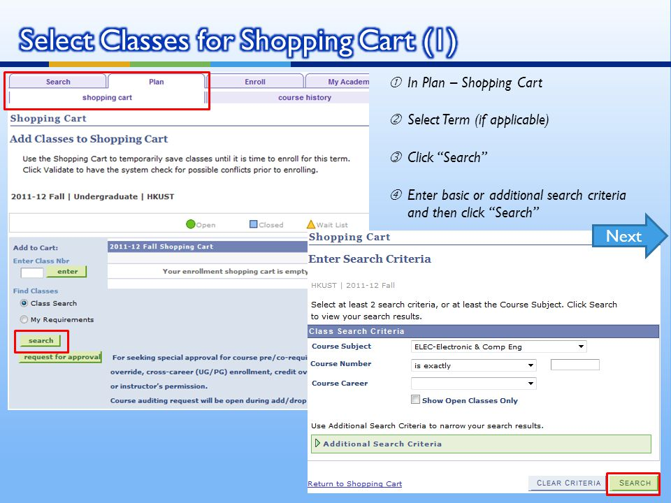 """Find the 4 digit class number for the intended swap- in class 'In Enroll - Swap ƒSelect the class to be swapped in Swap This Class """"Enter the class number found in step 1 and click enter to proceed Back to Class Enrollment Scenarios"""