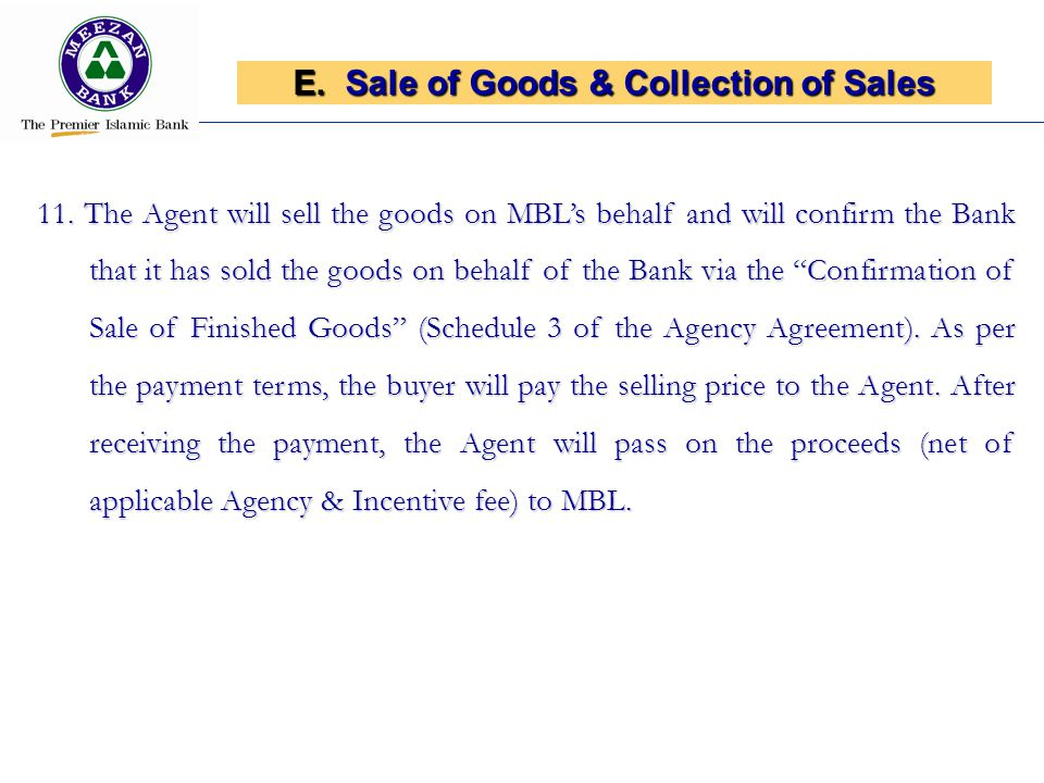E.Sale of Goods & Collection of Sales 11.
