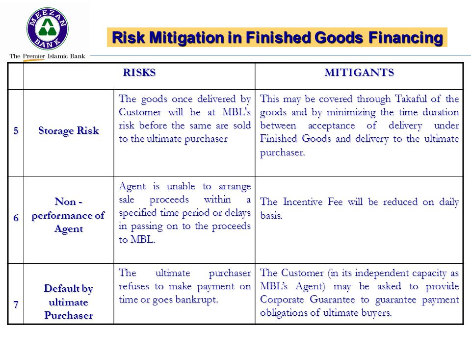 Risk Mitigation in Finished Goods Financing RISKSMITIGANTS5 Storage Risk The goods once delivered by Customer will be at MBL s risk before the same are sold to the ultimate purchaser This may be covered through Takaful of the goods and by minimizing the time duration between acceptance of delivery under Finished Goods and delivery to the ultimate purchaser.
