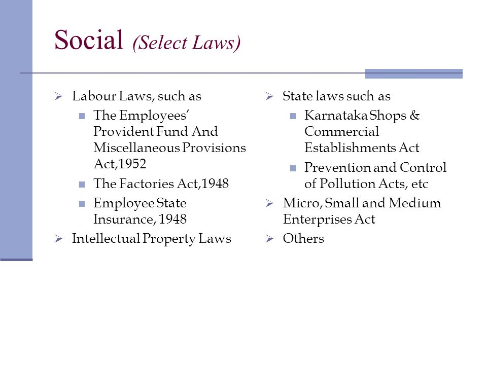 Social (Select Laws) Labour Laws, such as The Employees Provident Fund And Miscellaneous Provisions Act,1952 The Factories Act,1948 Employee State Insurance, 1948 Intellectual Property Laws State laws such as Karnataka Shops & Commercial Establishments Act Prevention and Control of Pollution Acts, etc Micro, Small and Medium Enterprises Act Others