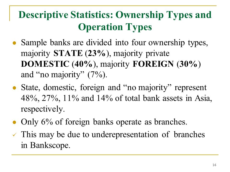 Descriptive Statistics: Ownership Types and Operation Types Sample banks are divided into four ownership types, majority STATE (23%), majority private DOMESTIC (40%), majority FOREIGN (30%) and no majority (7%).