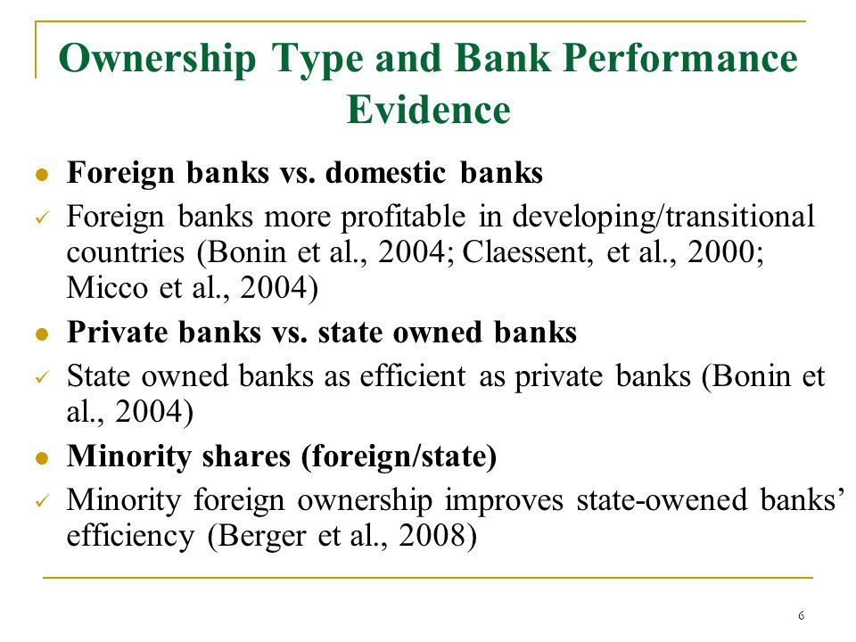 6 Foreign banks vs.