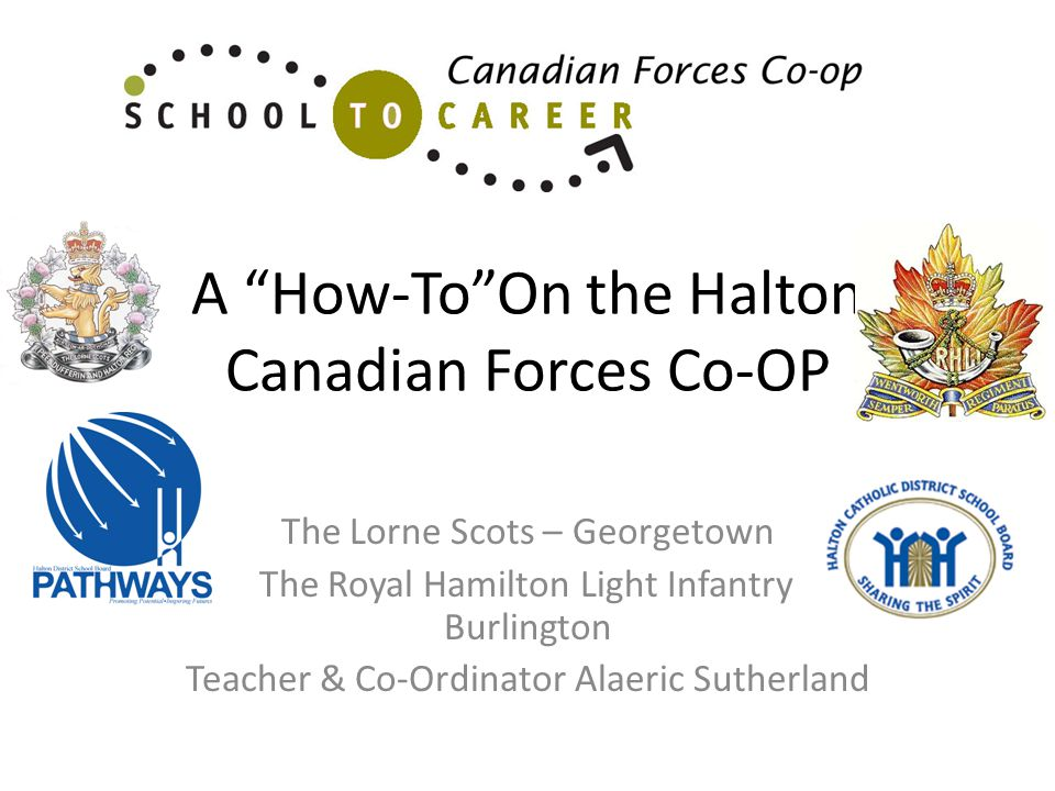 A How-ToOn the Halton Canadian Forces Co-OP The Lorne Scots – Georgetown The Royal Hamilton Light Infantry - Burlington Teacher & Co-Ordinator Alaeric Sutherland