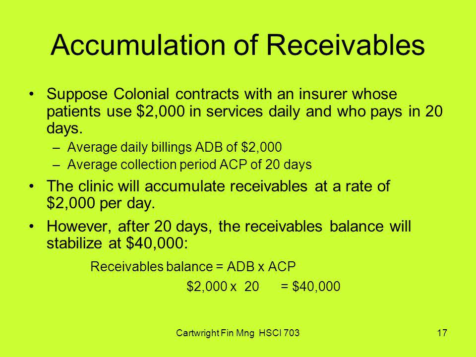 Cartwright Fin Mng HSCI 70317 Accumulation of Receivables Suppose Colonial contracts with an insurer whose patients use $2,000 in services daily and w