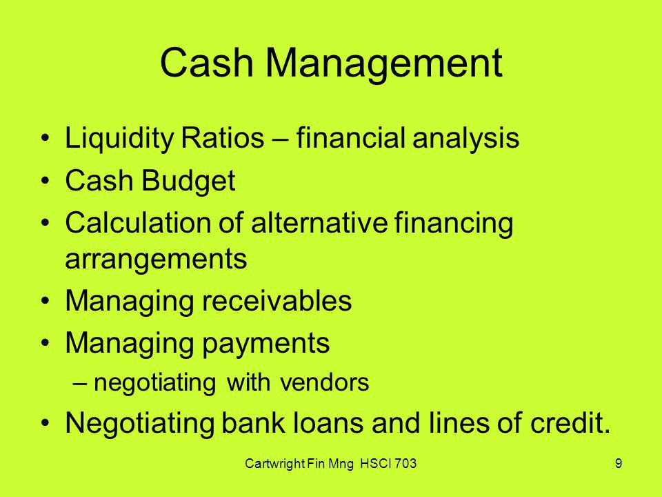 Cartwright Fin Mng HSCI 70330 Net Daily Purchases (NDP) NDP = ($3,000,000 x 0.98) /360 = $8,167 Payables level with discount Payables = $8,167 x 10 = $81,670 Payables level without discount Payables = $8,167 x 30 = $245,010 Credit breakdown Total trade Credit = $245,010 Free Trade Credit = 81,670 Costly Trade Credit = $163,340