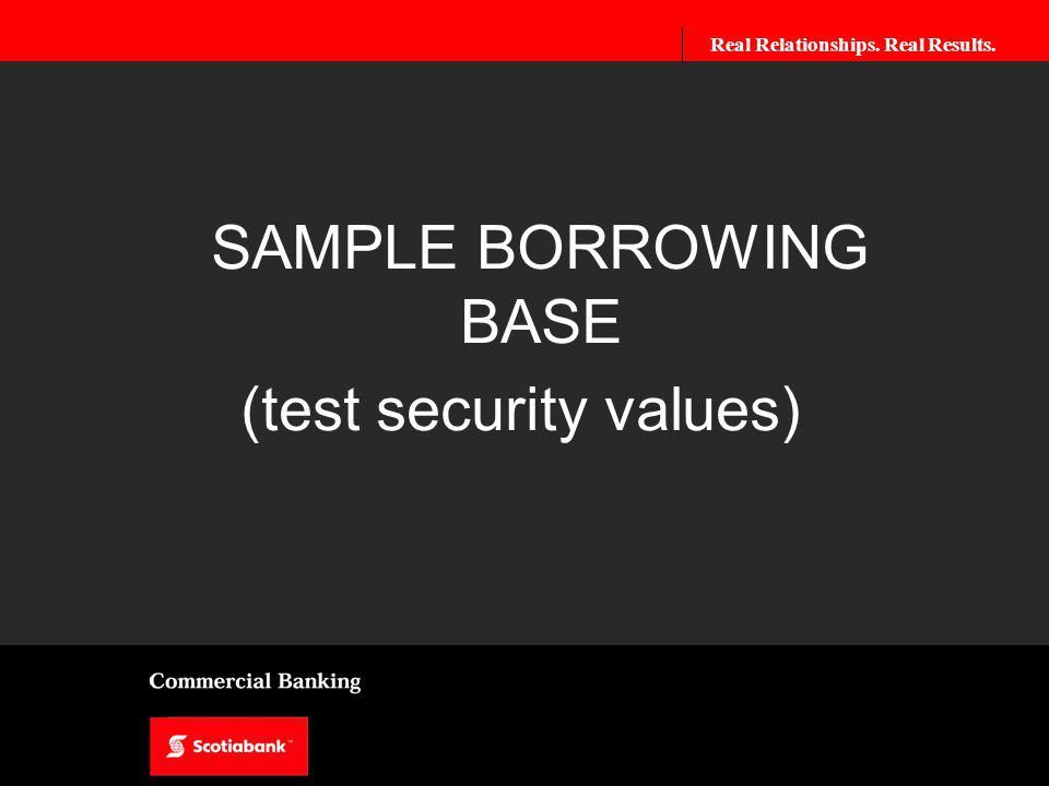 Real Relationships. Real Results. SAMPLE BORROWING BASE (test security values)