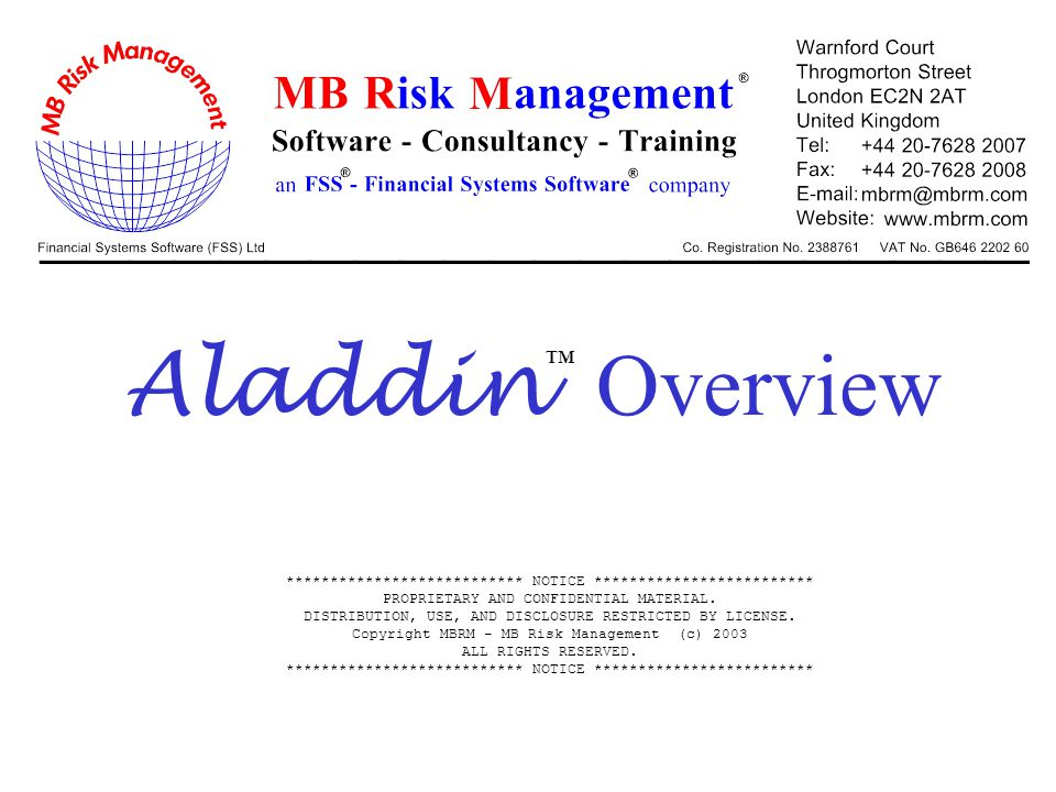 12 Aladdin - Trade Workbook Overview of trade workbook