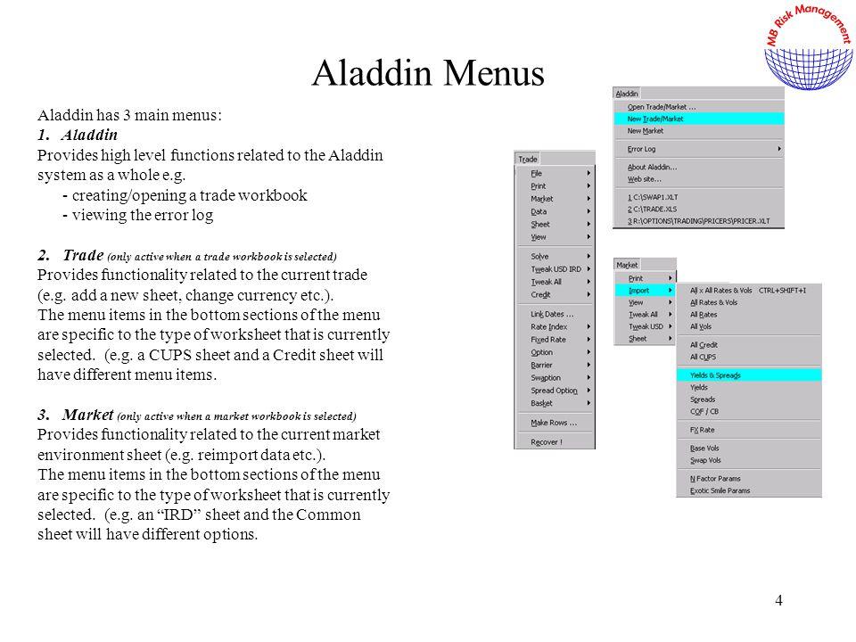 4 Aladdin Menus Aladdin has 3 main menus: 1.