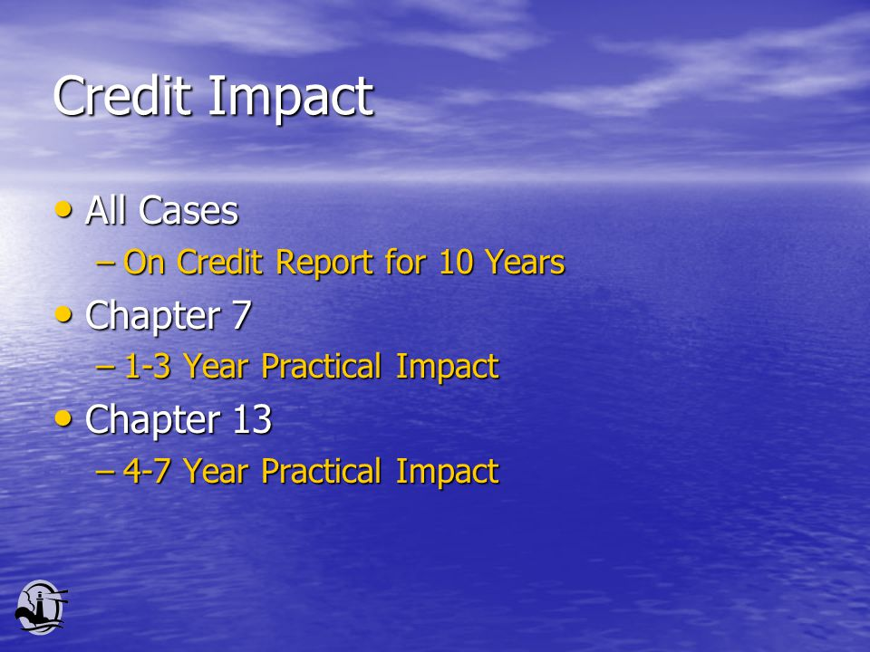 Credit Impact All Cases All Cases –On Credit Report for 10 Years Chapter 7 Chapter 7 –1-3 Year Practical Impact Chapter 13 Chapter 13 –4-7 Year Practi
