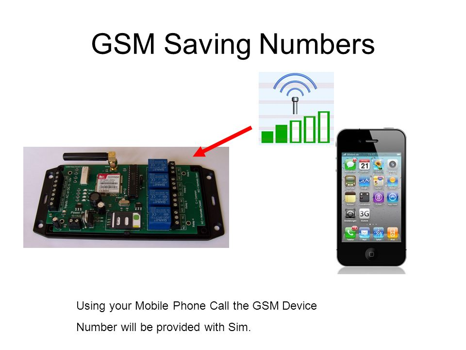GSM Saving Numbers Using your Mobile Phone Call the GSM Device Number will be provided with Sim.