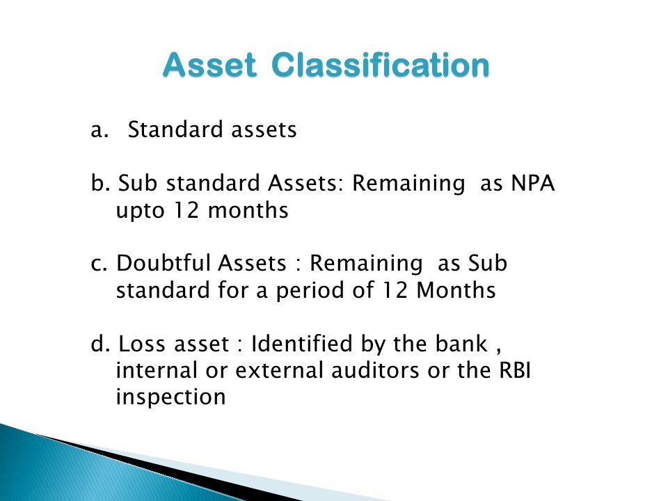 Asset Classification a.Standard assets b. Sub standard Assets: Remaining as NPA upto 12 months c. Doubtful Assets : Remaining as Sub standard for a pe