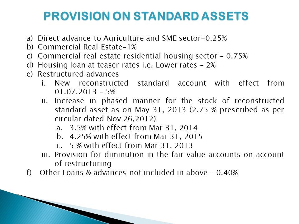 PROVISION ON STANDARD ASSETS a)Direct advance to Agriculture and SME sector-0.25% b)Commercial Real Estate-1% c)Commercial real estate residential housing sector – 0.75% d)Housing loan at teaser rates i.e.