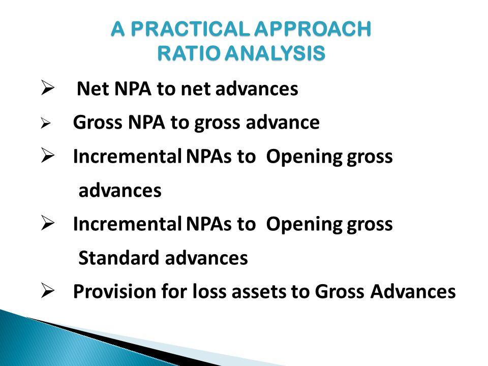 Net NPA to net advances Gross NPA to gross advance Incremental NPAs to Opening gross advances Incremental NPAs to Opening gross Standard advances Prov