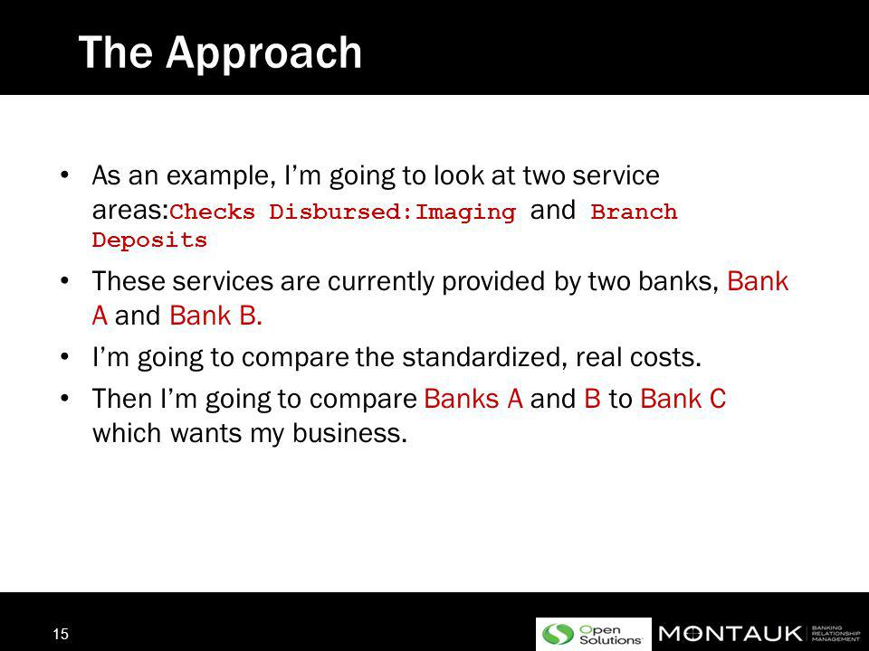 14 The Attack – Mission XBANK 1.Identify Service Utilization & Obvious Problems 2.Identify Differences in Bank Pricing Methodologies 3.Identify Volume to Use for Calculations 4.Calculate Monthly Cost Per Bank 5.Review results and determine how best to use this information to save money either through negotiation or transition of banking services Your mission: To standardize and reduce the cost of banking services across the banking network.