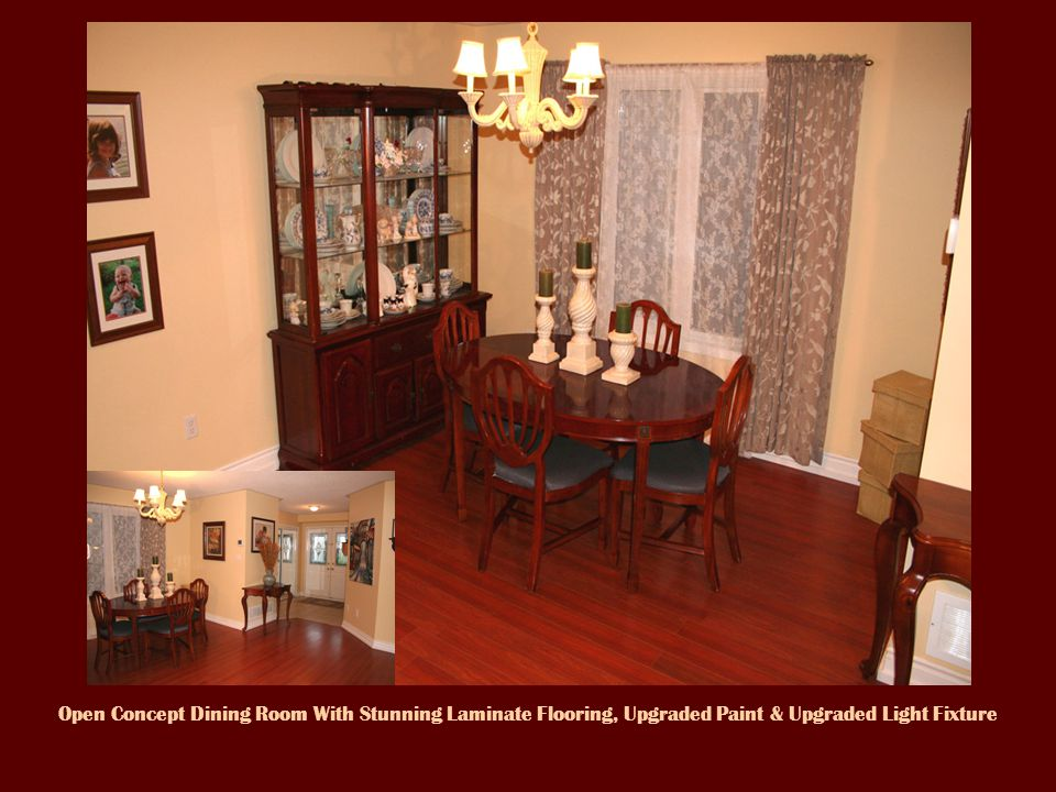 Open Concept Dining Room With Stunning Laminate Flooring, Upgraded Paint & Upgraded Light Fixture