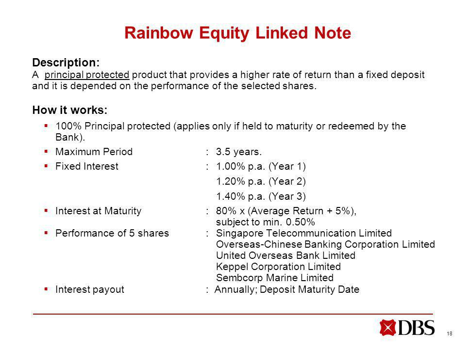 18 Rainbow Equity Linked Note Description: A principal protected product that provides a higher rate of return than a fixed deposit and it is depended on the performance of the selected shares.
