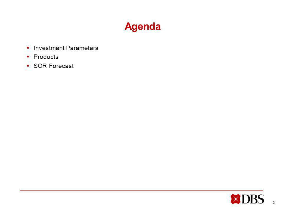 3 Agenda Investment Parameters Products SOR Forecast