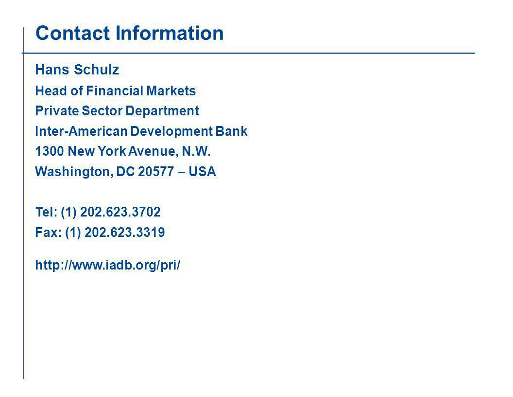 Contact Information Hans Schulz Head of Financial Markets Private Sector Department Inter-American Development Bank 1300 New York Avenue, N.W.