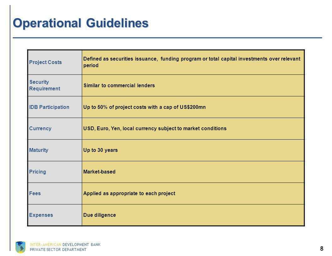 PRIVATE SECTOR DEPARTMENT INTER-AMERICAN DEVELOPMENT BANK 8 Operational Guidelines Project Costs Defined as securities issuance, funding program or total capital investments over relevant period Security Requirement Similar to commercial lenders IDB Participation Up to 50% of project costs with a cap of US$200mn CurrencyUSD, Euro, Yen, local currency subject to market conditions Maturity Up to 30 years Pricing Market-based Fees Applied as appropriate to each project ExpensesDue diligence