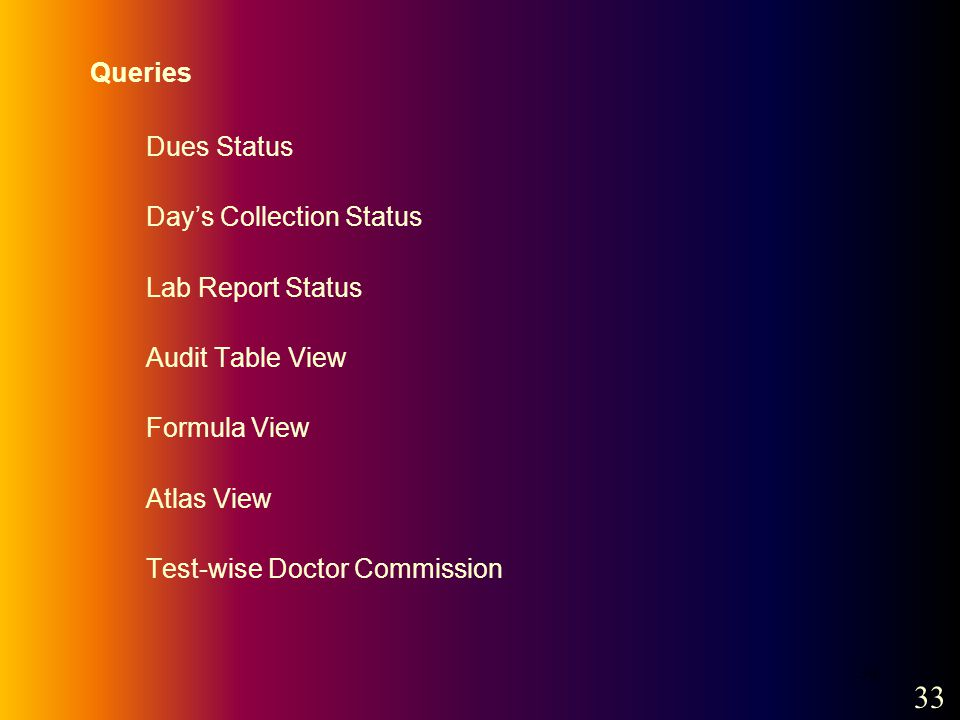 34 Queries Dues Status Days Collection Status Lab Report Status Audit Table View Formula View Atlas View Test-wise Doctor Commission 33
