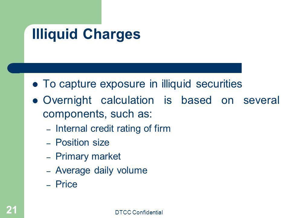 DTCC Confidential 21 Illiquid Charges To capture exposure in illiquid securities Overnight calculation is based on several components, such as: – Inte