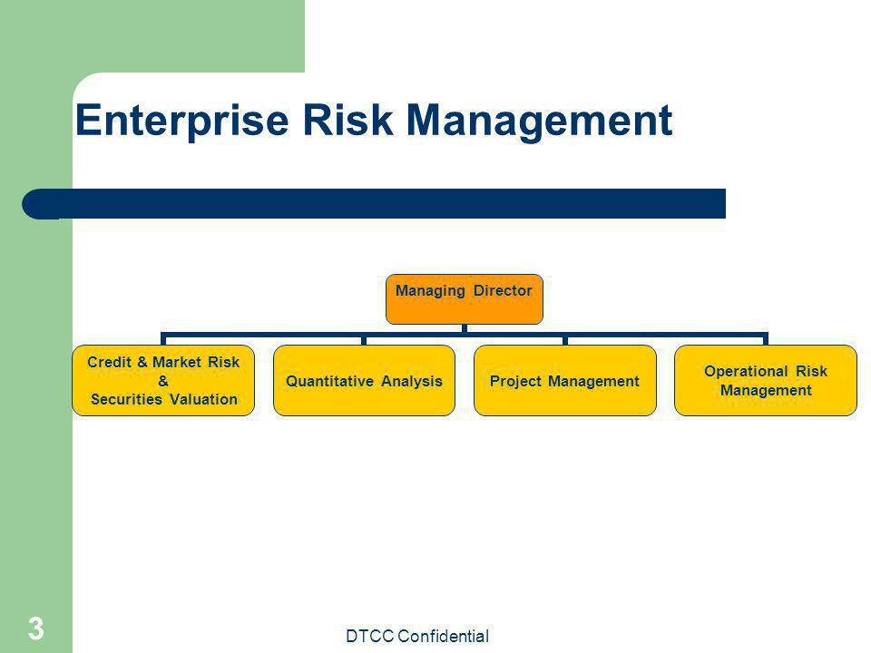 DTCC Confidential 3 Enterprise Risk Management Managing Director Credit & Market Risk & Securities Valuation Quantitative Analysis Project Management