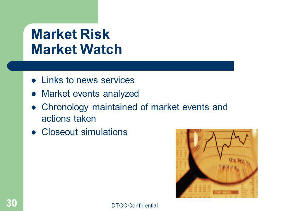 DTCC Confidential 30 Market Risk Market Watch Links to news services Market events analyzed Chronology maintained of market events and actions taken C