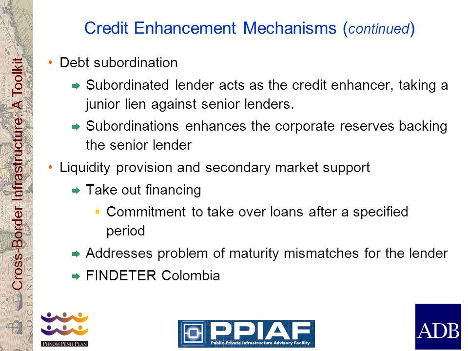 Cross-Border Infrastructure: A Toolkit Credit Enhancement Mechanisms ( continued ) Debt subordination Subordinated lender acts as the credit enhancer,