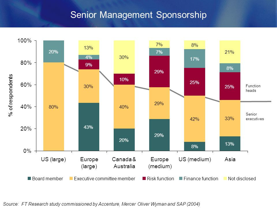 Senior Management Sponsorship Source: FT Research study commissioned by Accenture, Mercer Oliver Wyman and SAP (2004) Function heads Senior executives 43% 20% 29% 8% 13% 80% 30% 40% 29% 42% 33% 9% 10% 29% 25% 20% 4% 7% 17% 8% 13% 30% 7% 8% 21% 0% 20% 40% 60% 80% 100% US (large)Europe (large) Canada & Australia Europe (medium) US (medium)Asia % of respondents Board memberExecutive committee memberRisk functionFinance functionNot disclosed