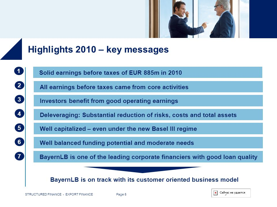 STRUCTURED FINANCE - EXPORT FINANCE Page 5 Highlights 2010 – key messages 3 4 5 6 7 Investors benefit from good operating earnings Deleveraging: Subst