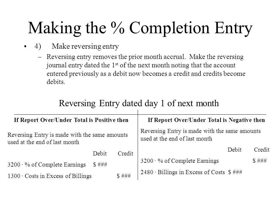 Making the % Completion Entry 4)Make reversing entry –Reversing entry removes the prior month accrual.