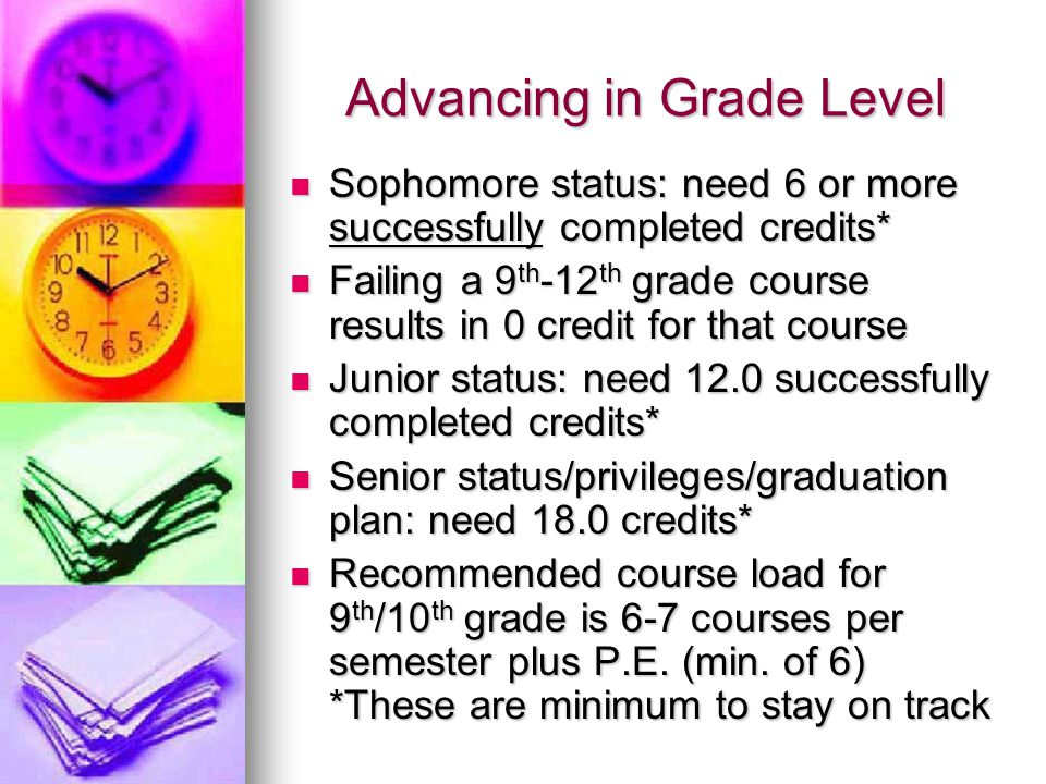 Advancing in Grade Level Sophomore status: need 6 or more successfully completed credits* Sophomore status: need 6 or more successfully completed cred