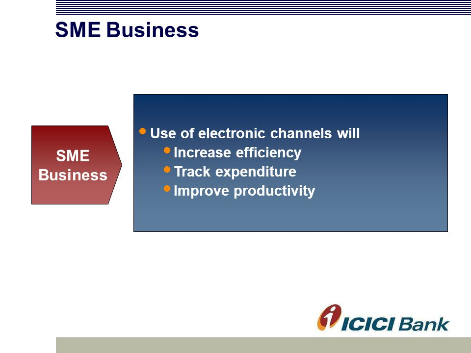 Use of electronic channels will Increase efficiency Track expenditure Improve productivity SME Business