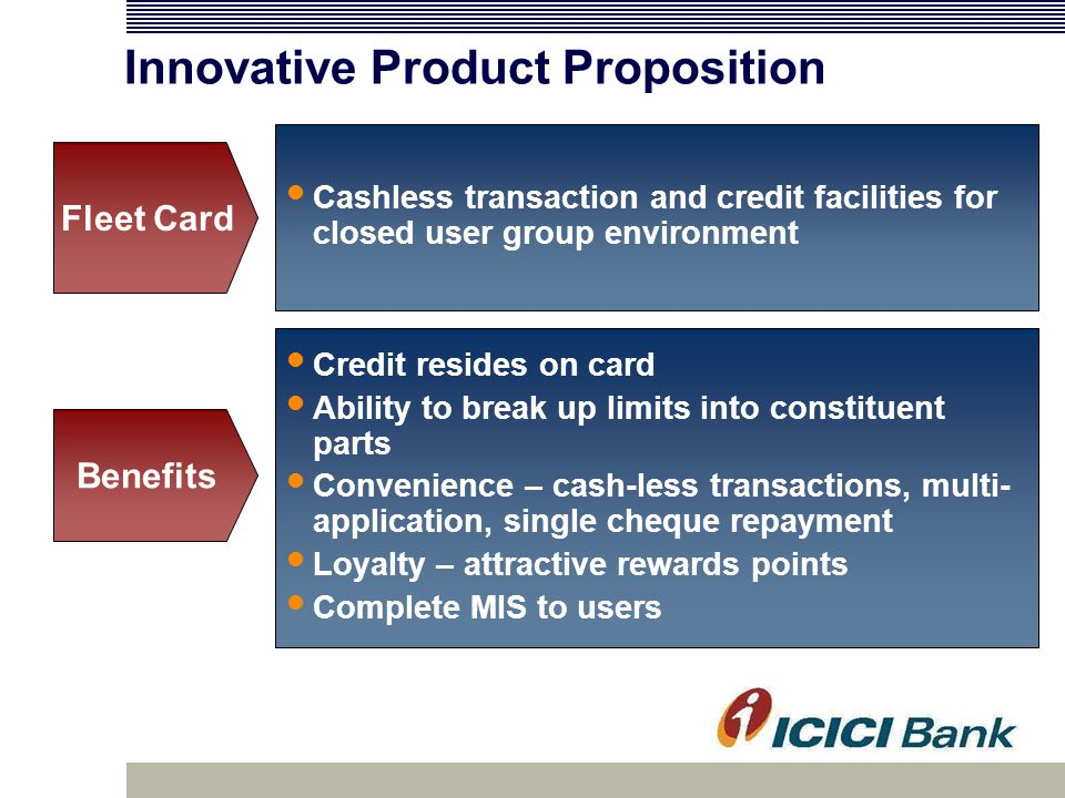 Innovative Product Proposition Credit resides on card Ability to break up limits into constituent parts Convenience – cash-less transactions, multi- application, single cheque repayment Loyalty – attractive rewards points Complete MIS to users Benefits Cashless transaction and credit facilities for closed user group environment Fleet Card