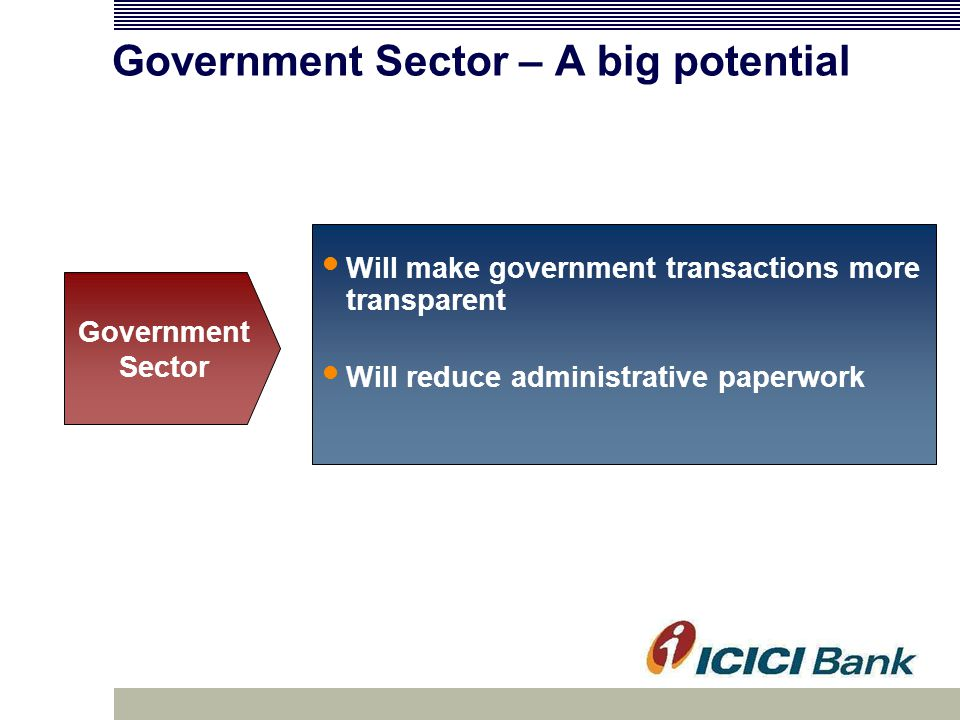 Government Sector – A big potential Will make government transactions more transparent Will reduce administrative paperwork Government Sector