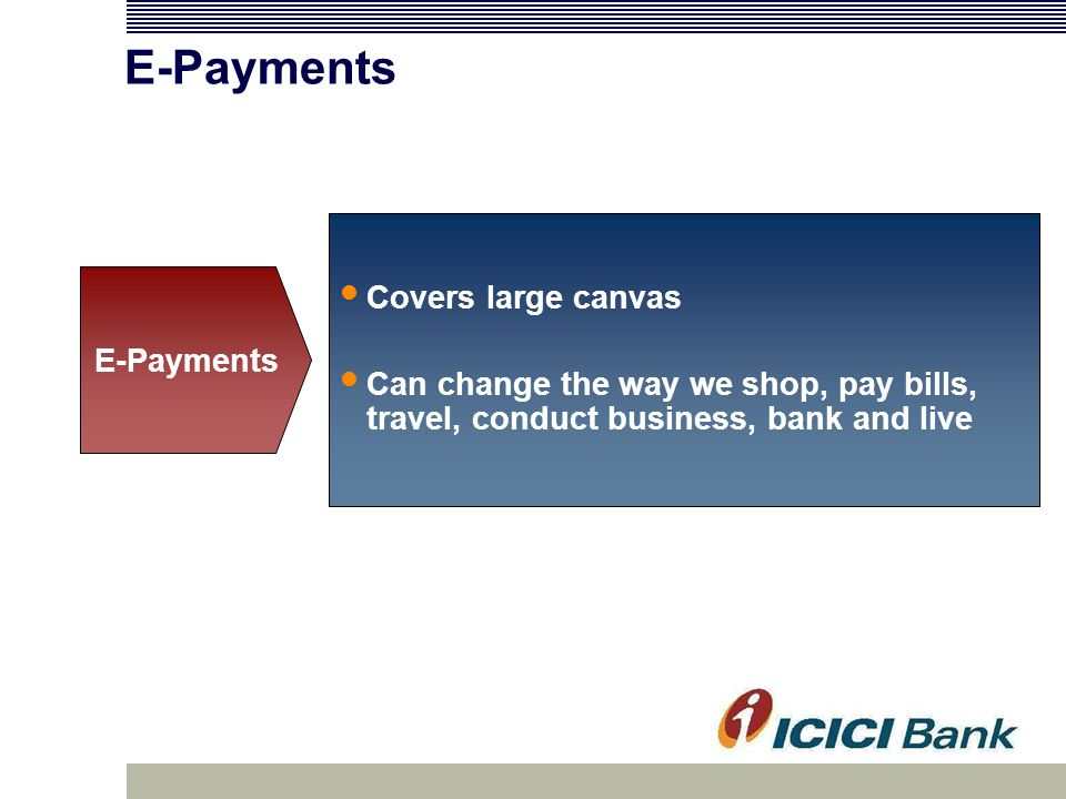 E-Payments Covers large canvas Can change the way we shop, pay bills, travel, conduct business, bank and live E-Payments