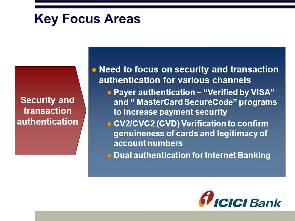 Key Focus Areas Need to focus on security and transaction authentication for various channels Payer authentication – Verified by VISA and MasterCard SecureCode programs to increase payment security CV2/CVC2 (CVD) Verification to confirm genuineness of cards and legitimacy of account numbers Dual authentication for Internet Banking Security and transaction authentication