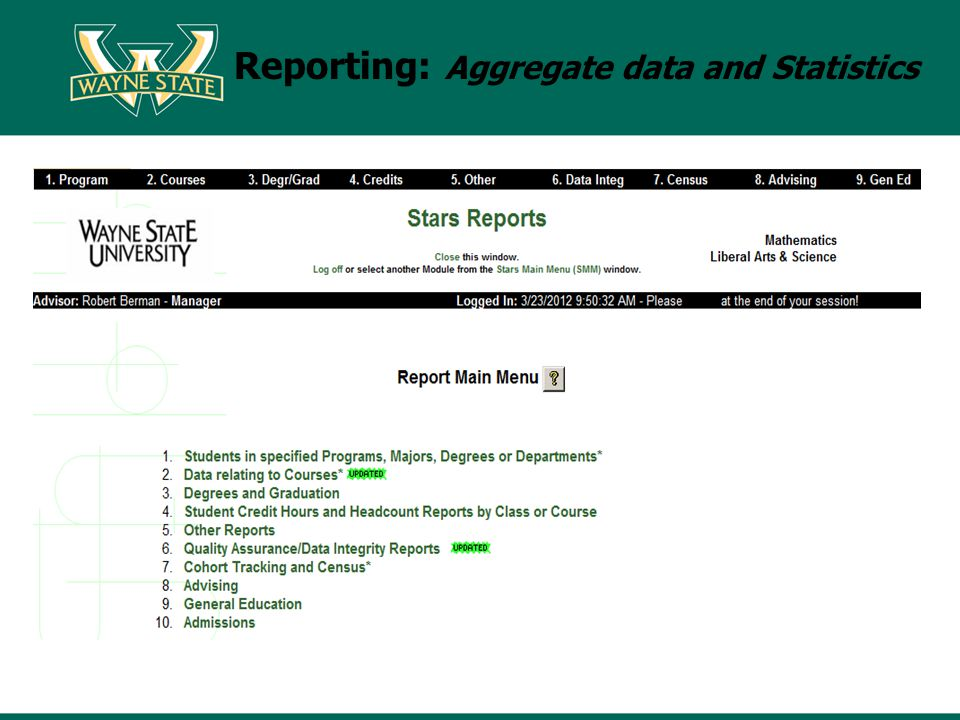 Reporting: Aggregate data and Statistics