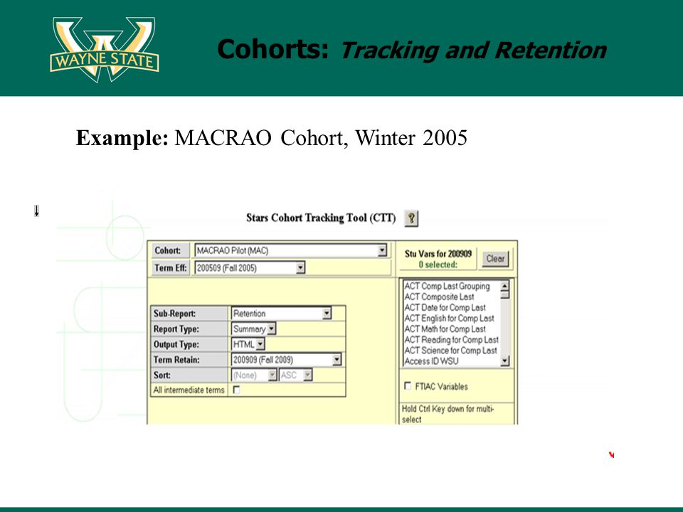 Cohorts: Tracking and Retention Example: MACRAO Cohort, Winter 2005