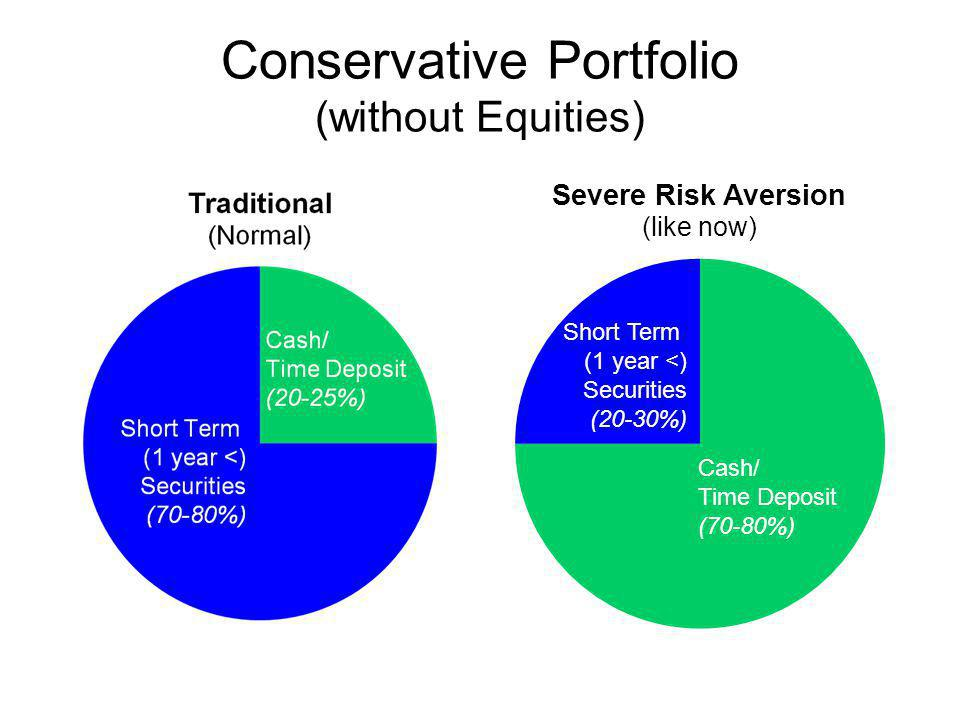Conservative Portfolio (without Equities) Cash/ Time Deposit (70-80%) Short Term (1 year <) Securities (20-30%)