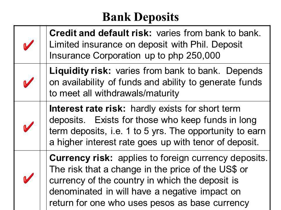 Bank Deposits Credit and default risk: varies from bank to bank.