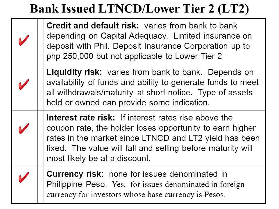 Bank Issued LTNCD/Lower Tier 2 (LT2) Credit and default risk: varies from bank to bank depending on Capital Adequacy.